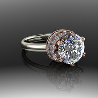 Forever Brilliant Moissanite and Diamond Modern Engagement Ring 2.79 CTW