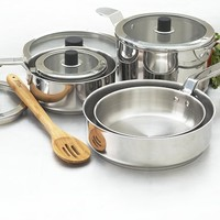 Ezistore Stackable 10pc Stainless Steel Cookset