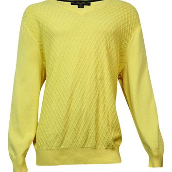 Club Room Men's Diamond-Knit Pattern V-Neck Sweater (Magnolia, LT)