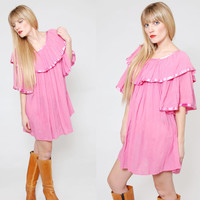 Vintage 80s Hippie Mini Dress Pink Ruffle Festival Tunic BABYDOLL Bell Sleeve Boho Dress