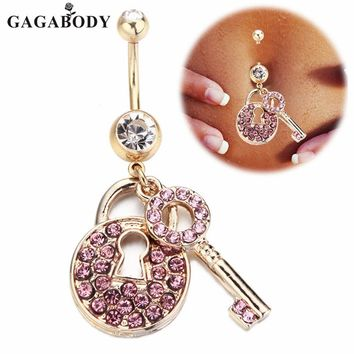 1PC Gold-color Piercing Stainless Steel Crystal Belly Ring Navel Bar Gold-color Lock & Key Dangle Body Jewelry Piercing