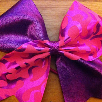 "3"" Shiny purple and pink pattern cheer bow!"