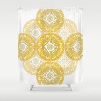 Orange Mandala Shower Curtain by Stefanie Juliette