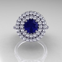 Tiffany Soleste Style 14K White Gold 1.0 Ct Blue Sapphire Diamond Ring R236-14KWGDBS
