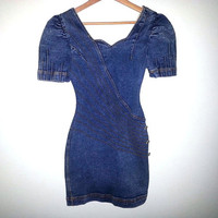 Vintage Denim DRESS womens Fitted Short Acid Washed Jean Dress Short Sleeve Zip Up Size 7/8