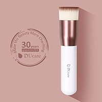 DUcare Flat Top Kabuki Foundation Brush Synthetic Professional Liquid Blending Mineral Powder Makeup Tools (Rose Golden and White)