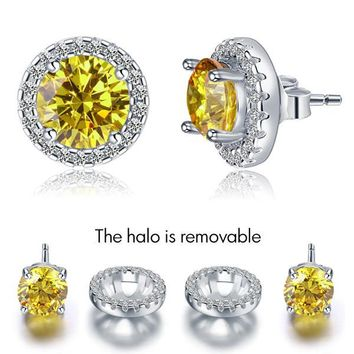 STYLEDOME 2.5 Carat Round Fancy Yellow Halo (Removable) Stud Solid 925 Sterling Silver Earrings