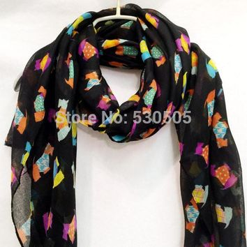Black Scottish Terriers Multi Colour Spring Summer / Autumn Scarf