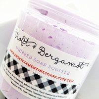 Violet and Bergamot Whipped Soap Souffle - Shaving Soap - Bath Whip - Shaving Cream