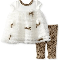 Nannette Baby-Girls Newborn 2 Piece Animal Print Rossette Dress Legging Set