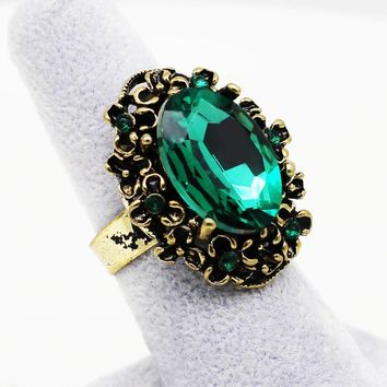 antique Bronze  vintage Gold emerald crystal stone rhinestones adjustable ring finger jewelry women wedding fashion