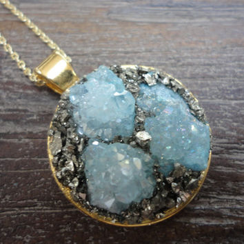 Druzy Agate With Pyrite Gold Pendant Necklace/Modern Boho/Crushed Pyrite/