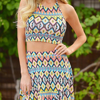 Multicolor Geometry Printed Halter Crop Top With Ruffled Skirt