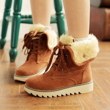 Womens Suede Lace Up Platform Thick Sole Flat Fur Fold Over Snow Combat Ankle Boots Tb0280