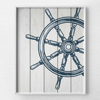Nautical Wheel Decor, Nautical Bathroom Art, Nautical Print, Sailing Art, Nautical Decor, Nautical Nursery, Sailing Print, Beach Art