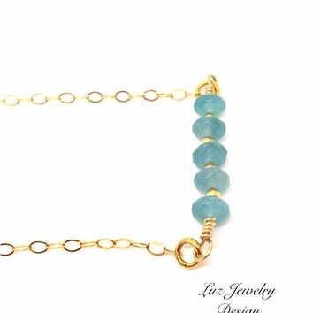 Amazon Aquamarine Necklace, Aquamarine Gold Necklace