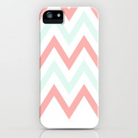 Mint & Coral Chevron (2) iPhone Case by daniellebourland