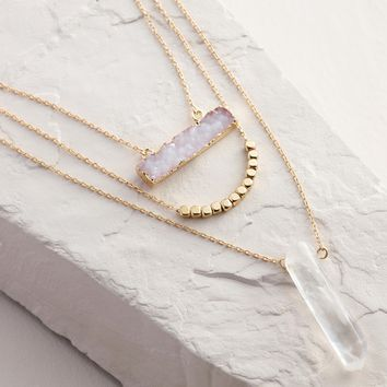 Gold 3-Layer Pink Druzy Crystal Pendant Necklace
