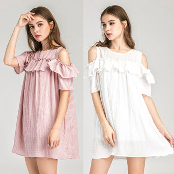 Fashion Cute Solid Color Round Neck Strapless Short Sleeve Frills Loose Mini Dress