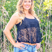 Black western Lace tank top