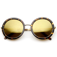 Women's Glam Mirrored Lens Round Fashion Sunglasses 9226