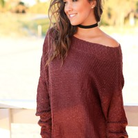 Maroon Knit Top with Draped Neckline