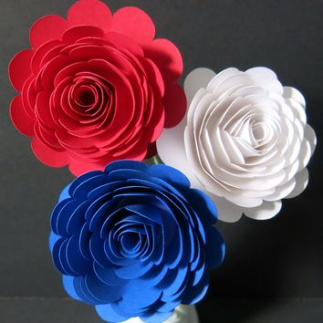 "Patriotic flowers for table centerpiece, set of 3 big 3"" roses on stems, Red White Blue, French Cafe Restaurant Decor, USA Deli Floral decorations, American Grill Steak House"
