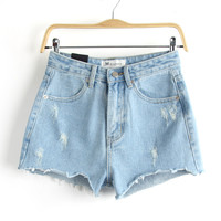 Summer Simple Design Slim High Waist Denim Rinsed Denim Shorts [6332323204]