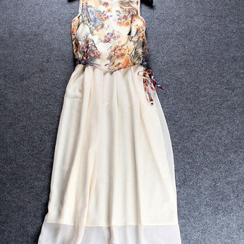 Apricot Floral Printed Top Zipper Back Sleeveless Mesh Midi Dress