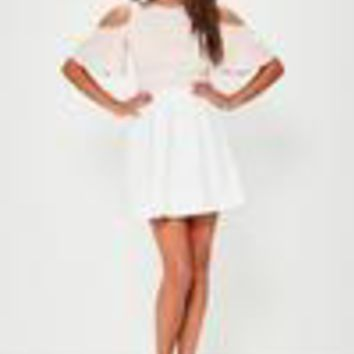 Missguided - White Scuba Skater Skirt