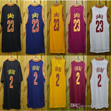Top Quality ! Retro Shirt 0 Kevin Love 2 Kyrie Irving Jersey 23 LeBron James Blue White Red Yellow Throwback Basketball Jersey