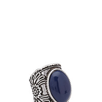 FOREVER 21 Faux Stone Cocktail Ring Navy/Burn.S