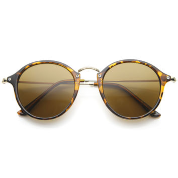 Vintage Dapper Horned Rim Round Sunglasses A195