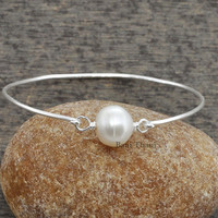 Silver Pearl Bracelet, Freshwater Pearl Round Approx 11mm 925 Sterling Silver Bangle Jewelry #3511