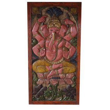 Vintage Indian Hand Carved Ganesha Sitting on Lotus Chakra Grounding Barn Door Panel Wall Rt