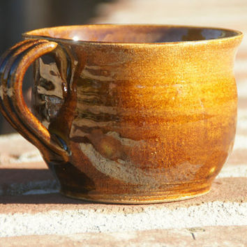 Amber Soup Mug - stoneware pottery, hand thrown
