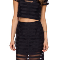 Black Long Sleeve Mesh Skirt