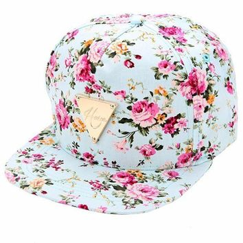 CREYCI7 2017 High Quality Floral Flower Snapback Hip-Hop Hat Flat Adjustable Baseball Cap Fashion Hot Free Shipping
