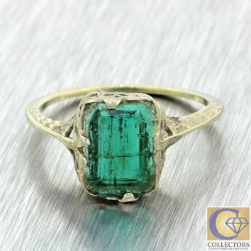 1930s Antique Art Deco 14k Solid Yellow Gold Emerald Filigree Band Ring