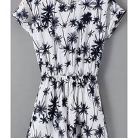 LUCLUC White Coconut Tree Pattern Playsuit - LUCLUC