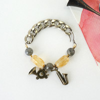 French Horn and Saxophone Charms Bracelet with Yellow Citrine and Gray Labradorite Crystal Stones