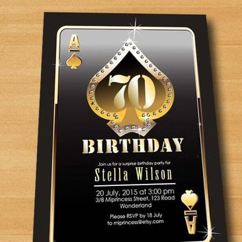 Poker Playing Card Gold birthday invitation, gold glitter design invitation for any age Party invitation Card Design - card 244