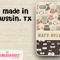 PERSONALIZED iPhone Case iPhone 4 4S iPhone 5 Phone Case - Retro Owl Eyes Brown Tan Pink - Monogrammed Custom