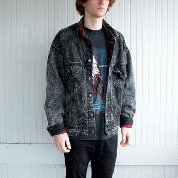Black Acid Washed Levi's Denim Jacket w/ Flannel Lining