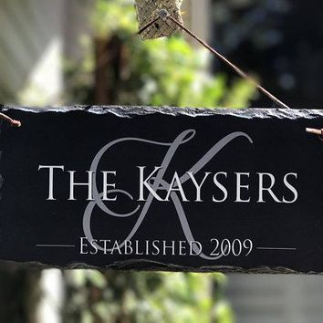 Customizable Slate Home Address House Sign - Name/Address with Established Date - Handmade and Personalized