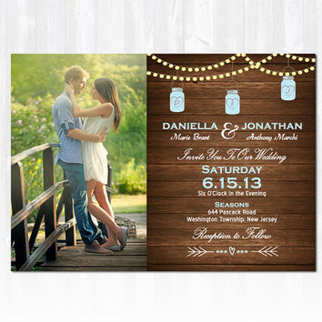 Strings Lights & Wood Mason Jar Wedding Invitation DIY PRINTABLE Digital File or Print (extra) Photo Wedding Invitation String Light Wedding