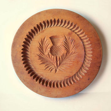 Wooden Butter Cookie Shortbread Press Stamp Mold • Carved Thistle