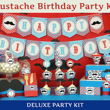 Little Man Birthday /  Mustache Party Kit DELUXE