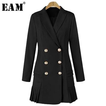 [EAM] 2018 New Autumn Lapel Long Sleeve Solid Color Black Double Row Buckle Loose Jacket Women Coat Fashion Tide JA9720
