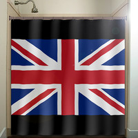 United Kingdom UK Union Jack flag shower curtain bathroom decor fabric kids bath white black custom color curtains